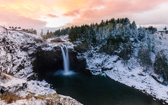 Winter's Warmth (John Westrock) Tags: waterfall morning sunrise nature snoqualmiefalls snow winter pacificnorthwest washington canoneos5dmarkiii canonef1635mmf4lis