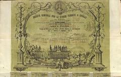 STRADE FERRATE A CAVALLI SOC. GEN. PER LE (scripofilia) Tags: 1873 azioni cavalli ferrate societàgenerale strade stradeferrateacavalli