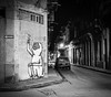 Havana Central at Night - Cuba (IV2K) Tags: havana habana lahabana cuba cuban cubano caribbean street mamiya mamiya7 mamiya7ii bw blackandwhite mediumformat 120 120film film kodak trix kodaktrix night graffiti fidel fidelcastro castro longexposure monochrome