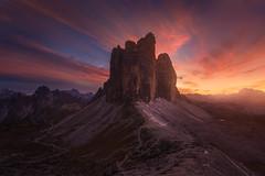 Fire (albert dros) Tags: trescime dolomites peaks sunset travel albertdros mountains italy moody threepeaks tourism sunrise rocks