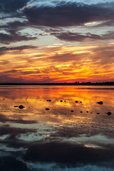 Fire and Ice (haddartist) Tags: water waterway bay bayside calm still glassy reflection reflecting mirror mirrored grass marsh wetland rock rocks nature natural trees treeline silhouette silhouetted sky clouds cloudy sunset dusk evening color colorful vibrant warm warmth backbay backbaywildliferefuge virginiabeach virginia
