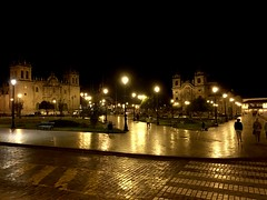 Cusco, Peru (MJR96) Tags: cusco cuzco peru peruvian inka inca latin american street streets square plaza church cathedral night lights reflection holiday vacation yellow dark crosswalk evening architecture buildings cobblestone sidewalk stone glow park central city centre center tranquil beauty beautiful image images cities historical history amazing backpack black amarillo calm backpacking