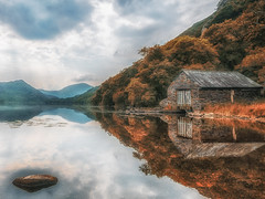 The Lake ( In Explore ) (Einir Wyn) Tags: landscape light lake love life leaf foliage fishing forest beautiful boathouse wales uk britain nationalpark snowdonia llyn dinas cymru outdoor pleasure countryside natur natural beauty peace nikon solace nature trees breathtaking scenery reflections
