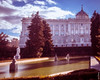 Royal Palace, Madrid, Spain (G.Roca) Tags: tree park sunny light filtered winter pond purple water green city grain architecture outdoors landscape royal garden noise noisy statues spain palace fountain trees clouds afternoon sky madrid blue tourism building old