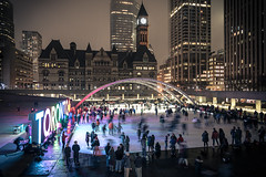 Hogtown Winter (BB ON) Tags: toronto ontario canada ice skating city urban night fog people crowd square nathanphillips hall winter building outdoor light buildings