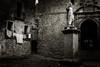 The Saint and the Laundry (Jeff Damron) Tags: italysepia erice sicily blackandwhite
