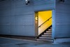 Golden Years (Bazzography! kind of back in action) Tags: bazmatthews architecture buildings entrance stairs stairway stairwell paleblue corrugated metalpanels warning steps handrail goldenyears mystery whoknowswhere corner streetcorner