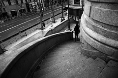 (cherco) Tags: alone solitario lonely woman solitary mujer stairs escaleras down composition composicion canon city urban ciudad urbano blackandwhite blancoynegro chica curva curve
