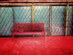 Lonely, in red (Karol Franks) Tags: red bench china chinese downtown chinatown alone lonely california socal ©karolfranks okarolyahoocom