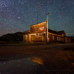 Patriotic Wheaton & Hollis Hotel Reflection (Jeffrey Sullivan) Tags: wheaton hollis hotel reflection bodie state historic park easternsierra night photography workshop abandoned wild west mining ghost town monocounty bridgeport california unitedstates usa canon eos 6d photo copyright 2016 jeff sullivan july 29