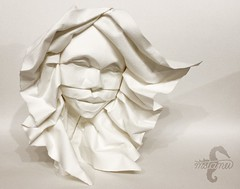 Confidence (Female Hair Study) (mitanei) Tags: origami face faces human mitanei origamiface gesicht paperart papierkunst papersculpture curvedfold wetfolded