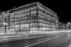 Hotel Grande Bretagne traffic lights (Ntino Photography) Tags: trafficlights blackandwhite bw monochrome longexposure hotelgrandebretagne syntagmasquare athens attica greece nightphotography city europe downtown canoneos5dmarkiii canon35mmf2 tripod road cars architecture building hotel ligths artificiallightning