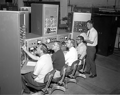 Atlas Collection Image (San Diego Air & Space Museum Archives) Tags: testlab 1966 vibration console headset portrait officefurniture modalanalysis