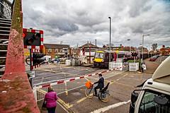 Oakham (Peter Leigh50) Tags: oakham signal box cabin level crossing footbridge bicycle van lorry car train railway uk rutland