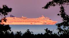 """Dawn"" at Sunset 10.08.15 (rowland-w) Tags: ocean cruise sunset boat ship glow maine telephoto cruiseship mdi ncl norwegiancruiseline"