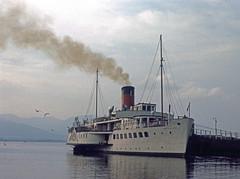 2048.  MAID OF THE LOCH. (Ron Fisher) Tags: uk greatbritain lake water boats scotland unitedkingdom gb 1975 loch lochlomond paddlesteamer maidoftheloch