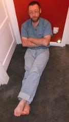 DSCF6697 (rugby#9) Tags: door feet wall shirt belt floor jeans barefoot barefeet levis blackbelt 501s denimshirt shortsleeveshirt levijeans levi501s 501jeans levi501 denimshortsleeveshirt