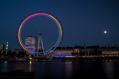 London Eye and Moon (Sandy Sharples) Tags: england moon colour reflection london thames skyline canon londoneye