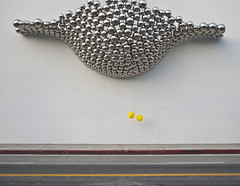 IP_balloon_silverballs_111119_0106 (ijp01) Tags: california white yellow balloons shine graphic suspension modernart santamonica balls streetscene sidewalk chrome installation bloomingdales minimalist parkingstructure smileyface santamonicaplace ballnogues