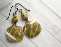 Olive Square Abstract Leaf Earrings (WiredOrchid) Tags: abstract green square design leaf pattern olive clay earrings lime dangle beaded polymer