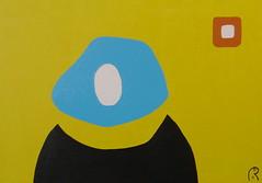 Jan Theuninck, Self-portrait, 2015 (Gray Moon Gallery) Tags: selfportrait jantheuninck contemporaryman selfie uomosenzavolto belgium funnyselfportrait painting yellow blue brown distortion kaltgestellt facialrecognition
