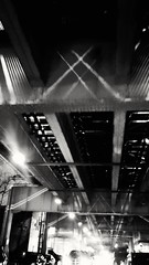 light games (williamw60640) Tags: blackandwhite chicago cityscape traffic traintracks citylife headlights rushhour urbanscenes elevatedtrain