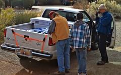 Dave, Lorenzo and Stu-The Three Amigos :) (Jo Zimny Photos) Tags: blue white amigos men dave truck outside three stu driveway lorenzo trio tarp thethreeamigos sundaytheme coldframes nikond5500