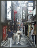 Kiyamachi dori scene (abriwin) Tags: street woman signs japan alley kyoto kimono dori kiyamachi