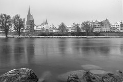 Ulm in the morning. (zoran.dakovic) Tags: city winter white snow black cold water river germany town ulm donau