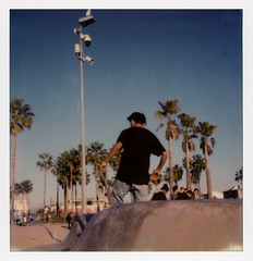 Venice Sk8r 9 (tobysx70) Tags: the impossible project tip polaroid slr680 frankenroid sx70 door rollers color film for 600 type cameras impossaroid sk8r venice beach skate park los angeles la california ca skater skateboarder palms palmtree security camera polawalk 121716 toby hancock photography