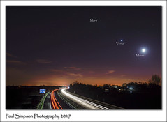 Night Sky View (Paul Simpson Photography) Tags: motorway scunthorpe nightsky venus mars themoon road traffic nighttime astronomy astro imagesof imageof paulsimpsonphotography photosof photoof january2017 traffictrails longexposure