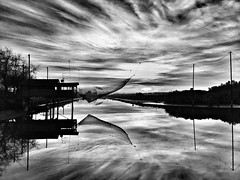 PIALLASSA BAIONA RAVENNA (giovannivarotti) Tags: blackandwhite bianconero biancoenero bw bnw lagoon tramonto cielo pesca valli italy italia ravenna