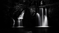 Flowing Dreams (Lindi m) Tags: iceland waterfalls kirkjufell dark blackandwhite cascades flowing glacialwaters longexposure lowkey