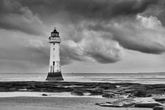 More weather at Perch Rock (another_scotsman) Tags: perchrock lighthouse stormy clouds landscape mono mersey