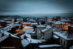 Gevgelija (Dimitar90) Tags: gevgelija macedonia night landscape cityscape hometown horizon snow winter houses january clouds fog sky bluehour longexposure lights lighttrails car roofs outdoors explore melting canon 60d