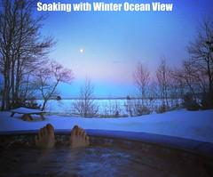 Soaking with a Winter Ocean View (CabotShores) Tags: hottub softtub warm evening snow ocean moon