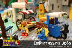 Embarrassing Jobs (EVWEB) Tags: lego minifigure banana guy truck tuktuk van seller embarrassing jobs works fun humor happy funny child boy beach stand fruits suit