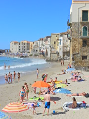 Sizzling Sicilian seaside Summer (Couldn't Call It Unexpected) Tags: sicily italy beach spiaggia blue sky mediterranean sea cefalu