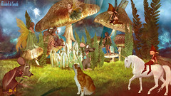 LA BALLADE D' UN CHAT HEUREUX ! (christabelle12300 -(très très peu présente )) Tags: forêt souris fées chat licorne gobelins
