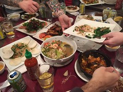 55/365 (moke076) Tags: 2017 365 project 365project project365 oneaday photoaday cell cellphone iphone mobile food meal eat vietnamese atlanta ga namphuong dinner hands tattoos tattooed arm shrimp papaya salad sour soup catfish sriracha sweetwater beer friends