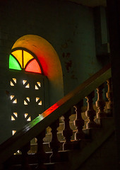 Benin, West Africa, Porto-Novo, stairs and stain glass window inside the great mosque (Eric Lafforgue) Tags: africa old travel color building heritage tourism church window vertical architecture religious worship muslim islam faith religion colonial belief afrobrazilian nobody nopeople mosque indoors bahia westafrica historical benin copyspace portuguese stainglass religions allah islamic portonovo lowangleview colourimage brazilianstyle بنين ベナン бенин 贝宁 adjacé hogbonou benin00680