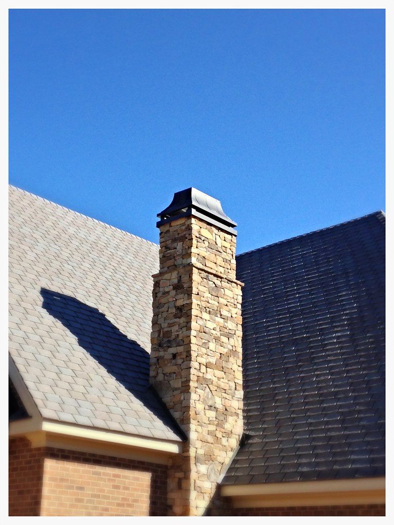 Custom Grey Powder Coated Concave Chimney Chase Top. Chattanooga, Tn