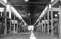 The end of the tracks (Michael VH) Tags: railroad yard texas cattle tracks rr canonae1program stockyards trix400 400tmy canonfd50mm caffenolch