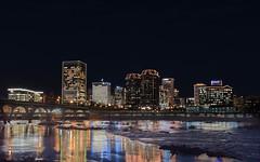 Richmond, Virginia (nikkorsnapper) Tags: nightphotography skylines rapids christmaslights jamesriver manchesterbridge richmondvirginiausa richmondphotographymeetupgroup rvaholidayskylinefromthefloodwall