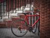 Geometry in Stasis (Explore, Dec. 20) (Mildred Alpern) Tags: stairs bicycle bricks railing pavement outdoors spokes granite