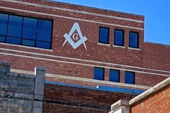 Masonic Lodge, Bedford, IN (Robby Virus) Tags: bedford indiana in masonic lodge masons freemasons fam dunn memorial temple sign signage symbol fraternal organization
