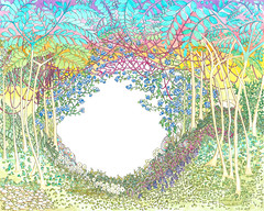 Eden, 2017 (A. Arendt) Tags: angelika arendt watercolor watercolour ink drawing eden paradies psychedelic psychedelisch tree forest art aquarell berlin coulored detailed exhibition fineliner graphic hill kunst lines modern natur nature ornament pattern aquarelle strich tusche exactly yellow zeichnung