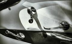 Sunday Drive: It's Handled (joannemariol) Tags: nikond50 snapseed classiccar classiccarphotography classic vintage vintageauto blackandwhitephotography blackandwhite