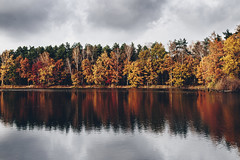 Another autumn shot (kubaszymik) Tags: fall autumn colors red yellow green water lake pond refelction gliwice poland vsco film anaolg canon sky clouds