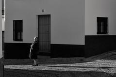 Rosario. (jcof) Tags: blackandwhite blancoynegro calle cortelazor mujer portrait retrato shade sierra sol sombra street sun